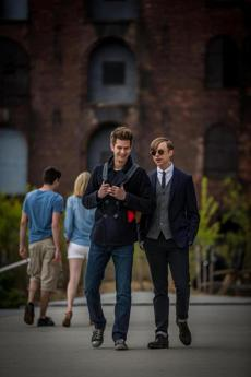 "Andrew Garfield (left) and Dane DeHaan in a scene from ""The Amazing Spider-Man 2."""