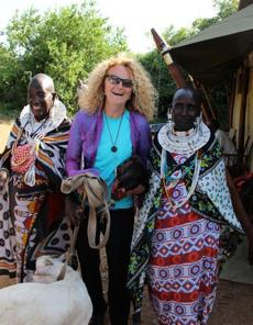 Judi Wineland with Maasai women in Tanzania.