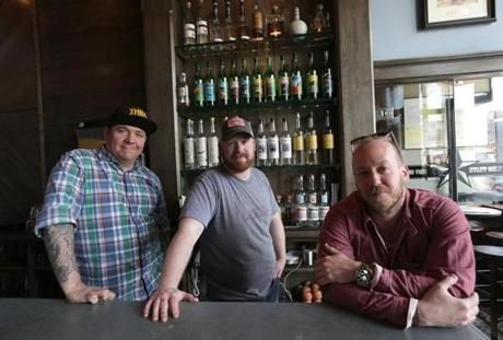 From left: David Cagle (general manager and partner), Rian Wyllie (chef, partner), and Aaron Sanders (co-owner) at Lone Star Taco Bar in Allston.