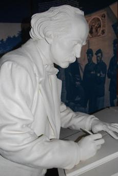 A statue of the author in the Wayside's visitor orientation area.