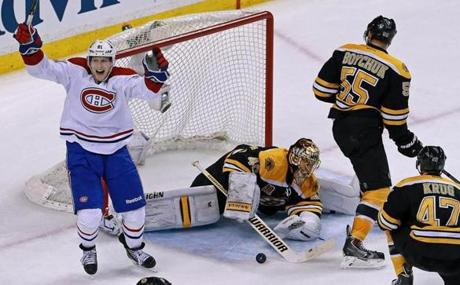 Montreal's Lars Eller celebrated after his team beat Tuukka Rask to go ahead 3-2 in the third period.