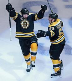 Boychuk and Brad Marchand were pumped after Boychuk scored late in the third period to tie the game at 3-3.