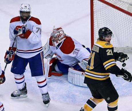 The Bruins Loui Eriksson celebrated after Johnny Boychuk scored late in the third period to tie the game at 3-3.