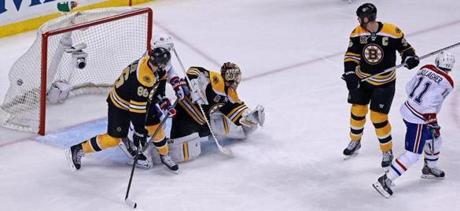 The puck hit the back of the net on a shot by Montreal's P.K. Subban (not pictured) in the second overtime period.