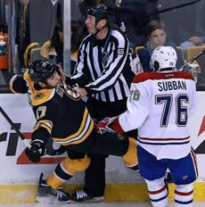 Montreal's P.K. Subban was lined up and looking to hit the Bruins Milan Lucic, but he never got the chance, as a collision with an official took him out of the play in the first period.