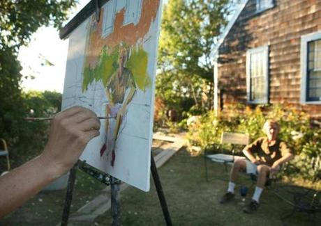 Artist-in-residence Sophia Reznick painted Harry Opsahl-Gee outside of the main house at the Hawthorne School in 2007.