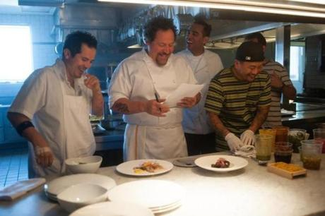 "Behind the scenes during the making of ""Chef"": (from left) John Leguizamo, who plays a line cook; Jon Favreau, who wrote, directed, and stars; Bobby Cannavale, who plays a sous chef,  and Korean-American chef (and food-truck king) Roy Choi, who served as a technical consultant."