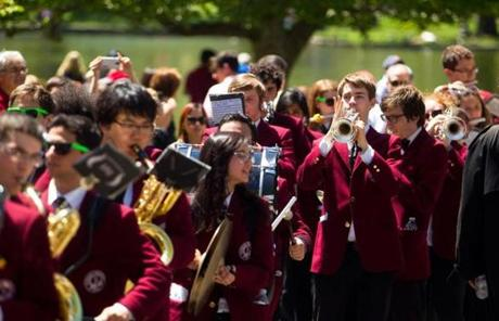 Harvard's marching band provided music.