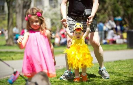 Lily Roth, 15 months, of Harrisburg, Pa., wore her duckling outfit.