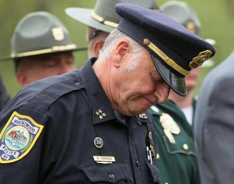 Brentwood, N.H. Police Chief Wayne Robinson showed emotion during a press conference Tuesday.