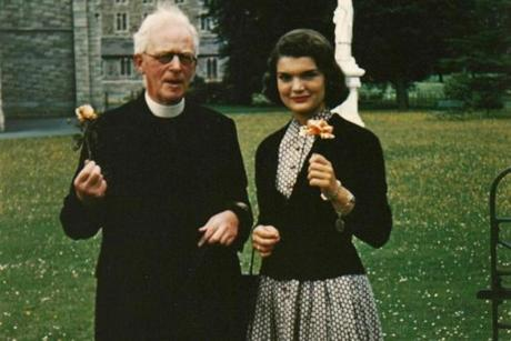 Jacqueline Kennedy with Father Joseph Leonard at All Hallows College in 1950.