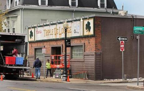 Triple O's Lounge in South Boston was made over at a different location in Cambridge May 14 for the filming of the movie.