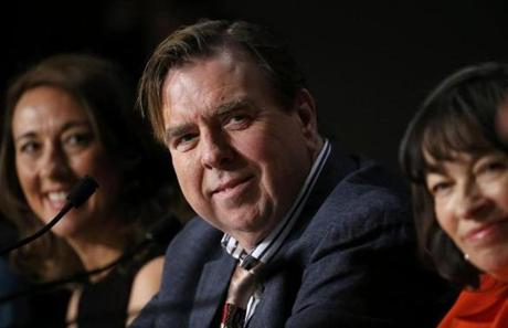 "From left: ""Mr. Turner"" cast members Dorothy Atkinson, Timothy Spall, and Marion Bailey speak to film festival media on Thursday."