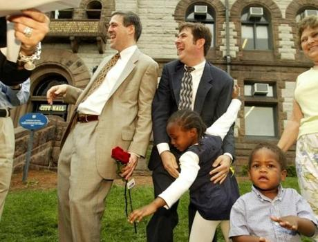 REMOTE TRANSMISSION -- REMOTE TRANSMISSION--- 5/17/2004 -- Cambridge, MA -- Cambridge City Hall -- Don Picard (left) and Robert DeBenedictis (right) rejoice in the seconds after they were married on the lawn of Cambridge City Hall with their two children, Carmen, 5, and James, 23 months old. They are from Cambridge, MA and were married by Clerk Donna Lopez. (Picard born on May 19, 1962 and DeBenedictis was born May 7, 1962.) They are living in Cambridge. Picard is a CEO, DeBenedictis is a software engineer. They have been together for 12 years. Library Tag 05182004 Metro Page One