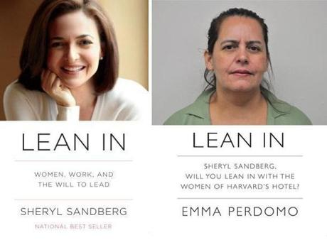 Emma Perdomo (right) is depicted on a fliter modeled after Sheryl Sandberg's best-selling book (left).