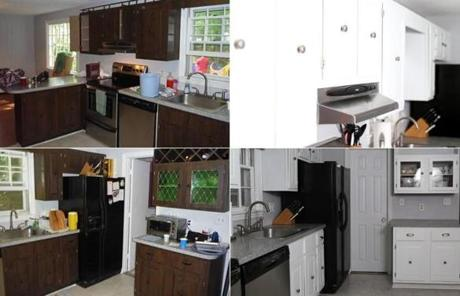 Before (left) and after of Meghan Blomberg's kitchen cabinets.