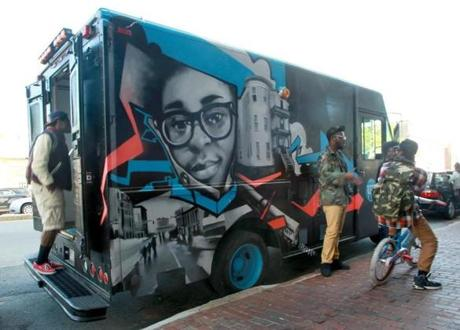 The Up Truck was parked in the Uphams Corner section of Dorchester last weekend. People can climb in the truck and make different kinds of art for the next few weekends.