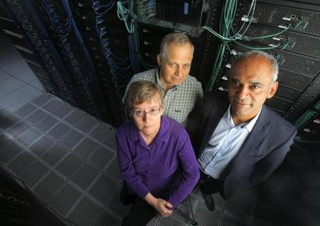 """We have a system that is rife with monopolies and abuse,"" says Aereo CEO Chet Kanojia, right, with fellow execs Brenda Cotter and Joe Lipowski."