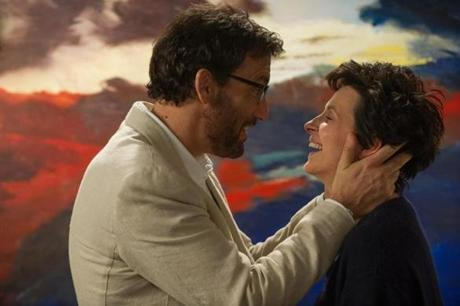 "Juliette Binoche with Clive Owen in ""Words and Pictures."""