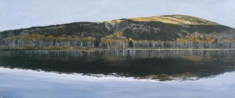 """Beaver Dam Pond, Acadia National Park"" (2009). Both oil paintings are in the retrospective ""Richard Estes' Realism"" at the Portland Museum of Art"