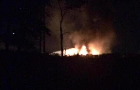 A private plane erupted in flames at the air field.