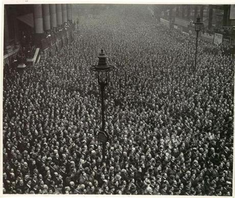 "Two-Minute Silence, Armistice Day, London,"" a 1919 image by an unknown photographer"