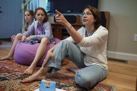 "6/01/2014 - Arlington, MA - A group of fourth-grade girls met at Anjali Duva's home, cq, (pictured) to discuss the book of the month ""Esperanza Rising."" Topic: Not Your Mother's Book Club(2). Story by Beth Teitell/Globe Staff. Dina Rudick/Globe Staff."