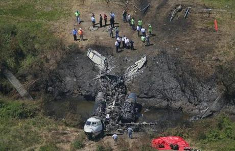 The scene of the Hanscom Field plane crash.
