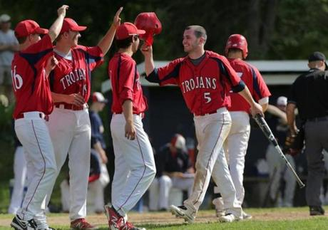 Bridgewater-Raynham's Andrew Noviello was congratulated after scoring during a 19-4 win over Lincoln-Sudbury on May 29.