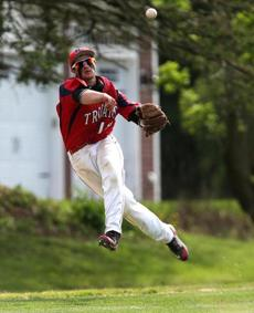 Bridgewater-Raynham third baseman Jonathan Livolsi made the throw but could not get the runner against Lincoln-Sudbury on May 29.