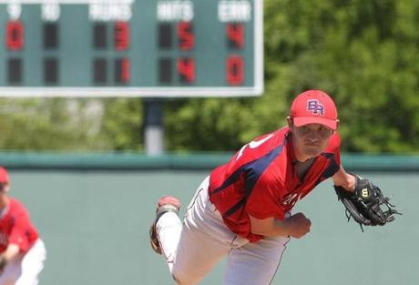 Bridgewater-Raynham's Jack Connolly beared down in the 9th inning en route to complete game, 3-1 victory over St. John's Prep on May 31.