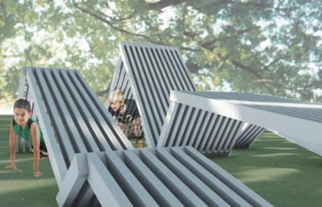 One of nine winning ideas of the Public Space Invitational is outdoor furniture meant to encourage play.