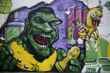 A wall in Rio de Janeiro is decorated with a mural depicting Brazilian soccer player Hulk. Teams from 32 nations will compete in the upcoming World Cup, with Sao Paulo hosting the opening ceremony and kick-off match between Brazil and Croatia on June 12.