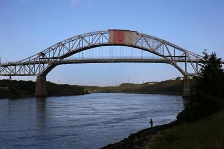 CAPE COD, MA - 5/30/2014: CAPE COD CANAL 100th Anniversary 1914-2014....good spots for fishing by the Sagamore Bridge (David L Ryan/Globe Staff Photo) SECTION: MAGAZINE TOPIC