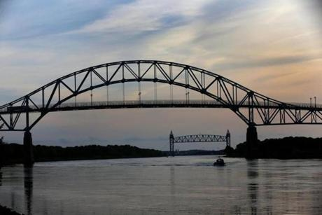 CAPE COD, MA - 5/30/2014: CAPE COD CANAL 100th Anniversary 1914-2014....Bourne Bridge in the foreground with Railroad Bridge and Buzzards Bay background. (David L Ryan/Globe Staff Photo) SECTION: MAGAZINE TOPIC