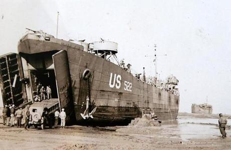 "A photo provided by Arthur Cotton shows the landing craft that took him ashore at Utah Beach in Normandy. Of the invasion, he said: ""It was like taking part in a movie."""