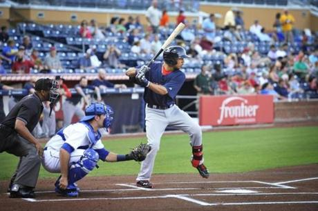 Mookie Betts digs in during an at-bat in his first game for Pawtucket on Wednesday.