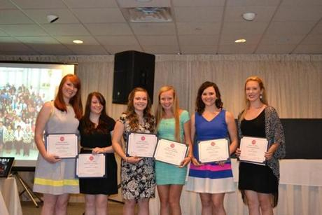 Danvers High School students awarded Colleen E. Ritzer Memorial Scholarships were (from left): Sarah E. Mountain, Samantha L. Waters, Catherine J. Lamoly, Andrea M. Lang, Mary E. Leahy, and Lily Cuzner.