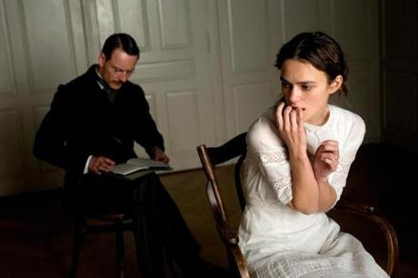 "Michael Fassbender as Carl Jung and Keira Knightley as Sabina Spielrein in David Cronenberg's "" A Dangerous Method."""