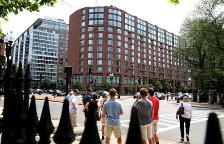 Another view of the outside of the Boston Four Seasons hotel.