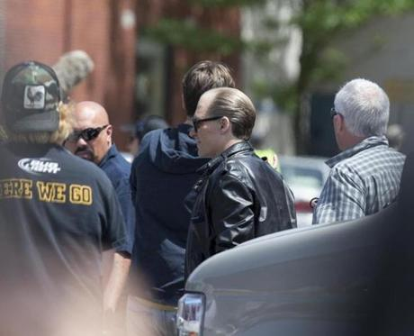 Johnny Depp in character as Whitey Bulger on Buffum St. Depp and Juno Temple did several takes of a scene at the corner of Buffum and Union Streets in downtown Lynn on June 11.