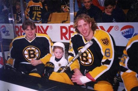 Ryan Donato (middle) with Sergei Samsonov and Joe Thornton