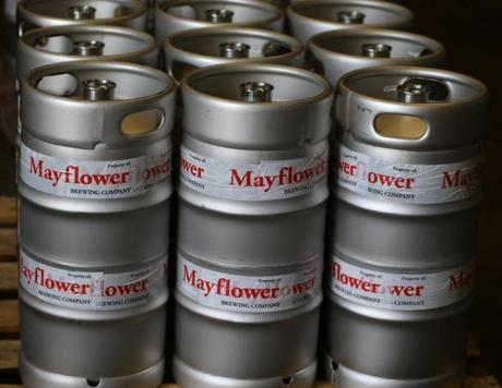 Plymouth Ma 06/11/2014 A detail of kegs at thye Mayflower Brewing Company in Plymouth. Boston Globe Staff/Photographer Jonathan Wiggs Topic: Reporter:
