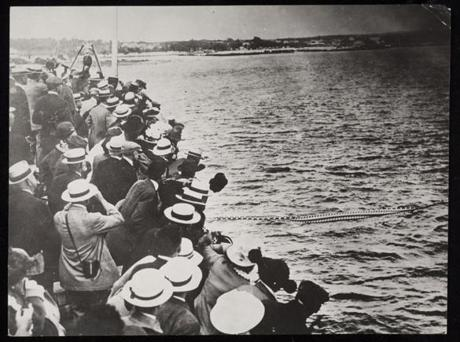 The canal opened in July 1914 with great fanfare. People line the banks in Bourne and Sandwich to catch a glimpse of the parade of ships to celebrate the opening. In later years, the canal would be expanded.