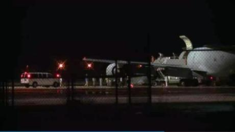 A plane carrying Army Sergeant Bowe Bergdahl arrived early Friday at Lackland Air Force Base, Texas.