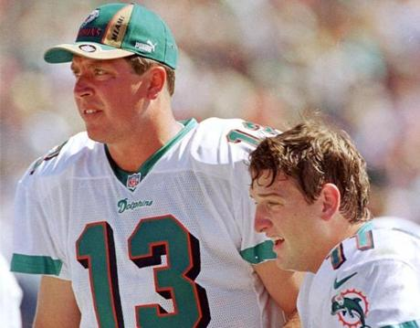 Damon Huard, right, started five games for the Dolphins in Dan Marino's final season in 1999 and was in the running to replace him as the starter the next season.