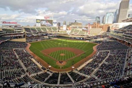 MINNEAPOLIS, MN - MAY 13: Target Field as seen from the upper deck during MLB game action between the Minnesota Twins and the Boston Red Sox on May 13, 2014 at Target Field in Minneapolis, Minnesota. (Photo by Andy Clayton-King/Getty Images) -- Baseballbucketlist