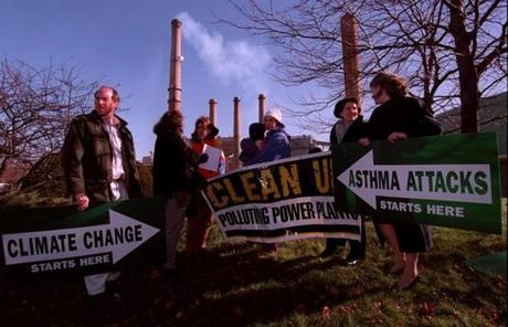 In this 1997 photo, activists from groups including the American Lung Association and the Appalachian Mountain Club gathered outside the Salem power plant, seeking its closure.