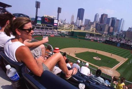 "Vicki Shaffer of Butler, PA enjoys her first visit to a Pirates game at PNC Park. ""It's Beautiful. It's a real compliment to the city"" she said of the park which is in its second season. Library Tag 06262002 Travel"
