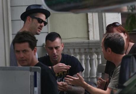 "Film director Scott Cooper (at left, wearing hat) was spotted during the filming of ""Black Mass"" in East Broadway in South Boston on June 19."